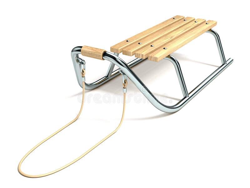 Trineo de madera del metal con la cuerda 3D stock de ilustración