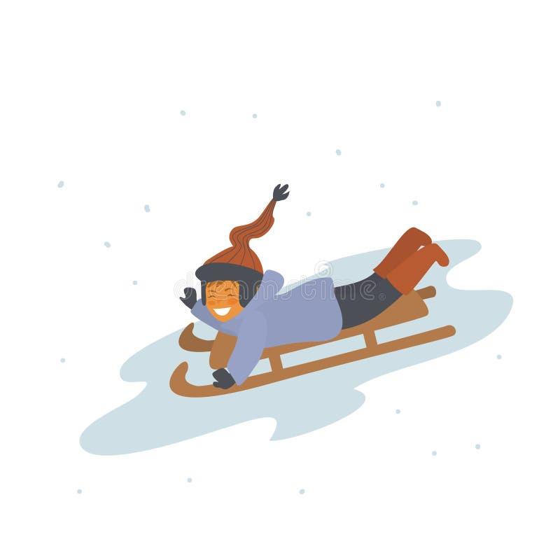 trineo de madera del vintage del invierno del montar a caballo del niño en el ejemplo aislado nieve del vector stock de ilustración
