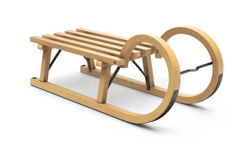 Trineo de madera rizado stock de ilustración