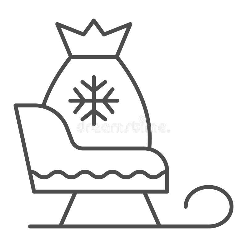 Trineo de Papá Noel con la línea fina icono de los regalos Ejemplo del vector del trineo de la Navidad aislado en blanco Trineo c stock de ilustración