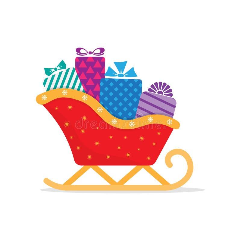 Trineo de Papá Noel con las pilas de presentes libre illustration