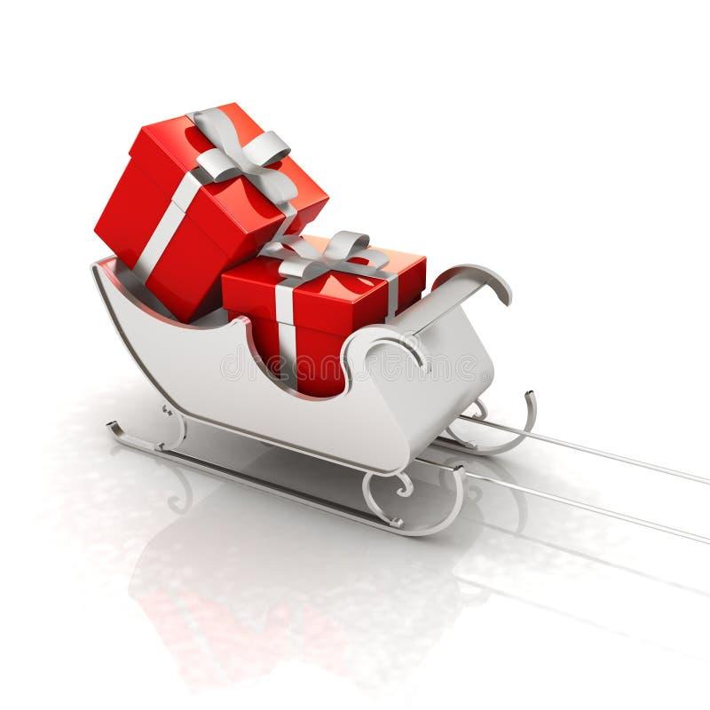 Trineo de Papá Noel de la Navidad con los regalos ilustración del vector