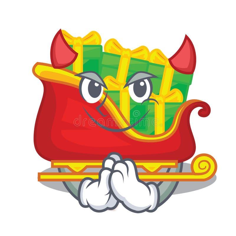 Trineo de Papá Noel del diablo con los regalos del carácter de la Navidad libre illustration