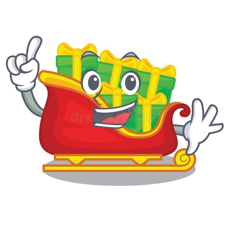 Trineo de Papá Noel de la Navidad del finger aislado en mascota stock de ilustración