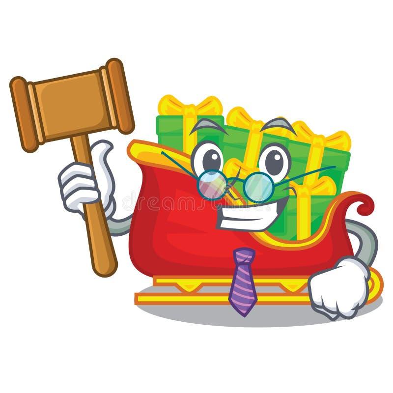 Trineo de Papá Noel de la Navidad del juez aislado en mascota stock de ilustración