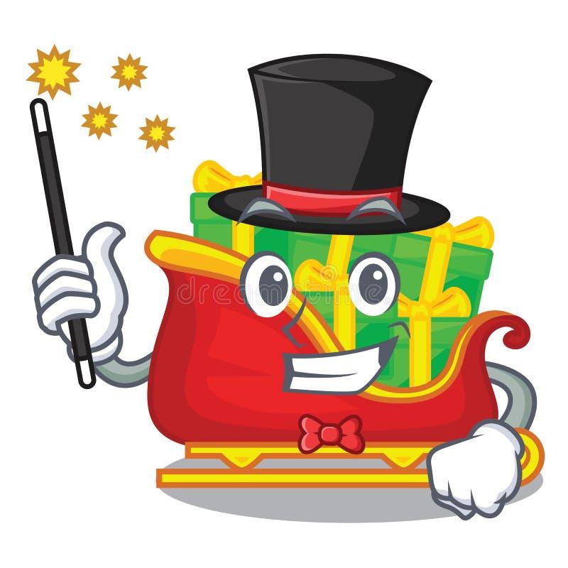 Trineo de Papá Noel de la Navidad del mago aislado en mascota stock de ilustración