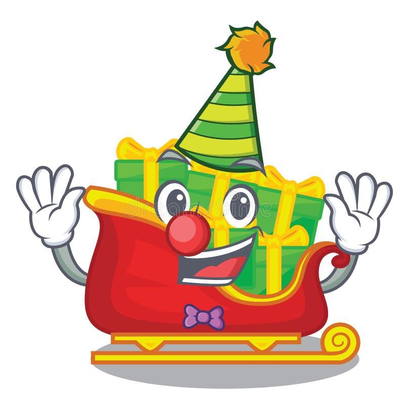 Trineo de Papá Noel de la Navidad del payaso aislado en mascota stock de ilustración