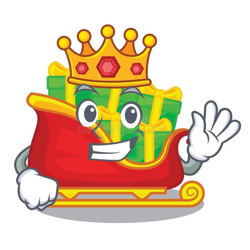 Trineo de Papá Noel de la Navidad del rey aislado en mascota stock de ilustración