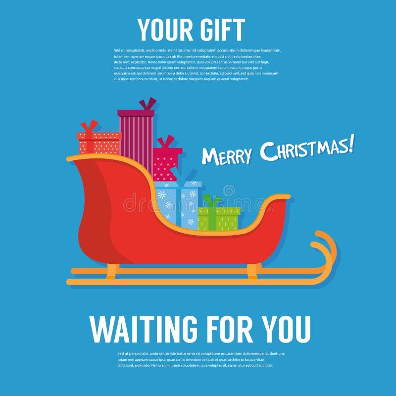 Trineo de Papá Noel, regalos aislados en blanco Icono del trineo y pilas coloridos de presentes Ejemplo plano del vector de la hi stock de ilustración