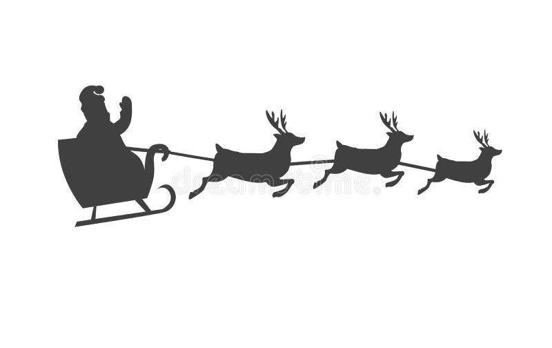 Trineo de Papá Noel s con la silueta del vector del reno ilustración del vector