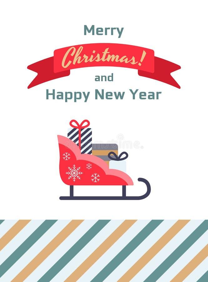 Trineo de Papá Noel, tarjeta de regalos libre illustration