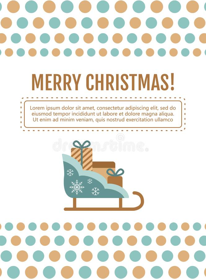 Trineo de Papá Noel, tarjeta de regalos ilustración del vector