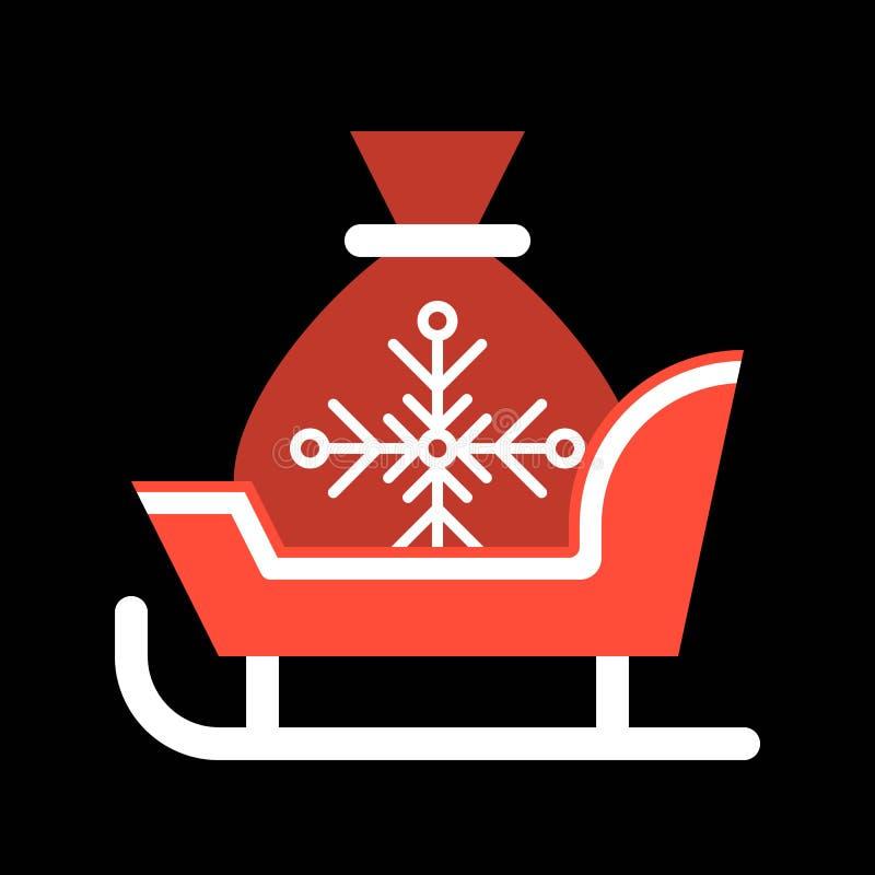 Trineo de Papá Noel y bolso del regalo, sistema del icono de la Feliz Navidad, diseño plano stock de ilustración