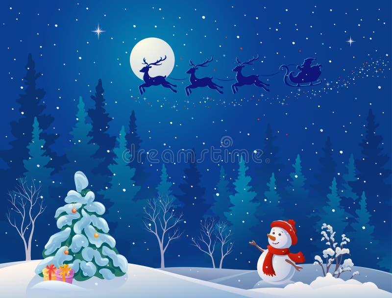 Trineo de Papá Noel y muñeco de nieve del saludo ilustración del vector