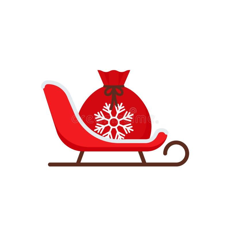 Trineo de Pap? Noel Icono de la Navidad Ejemplo del vector en dise?o plano stock de ilustración
