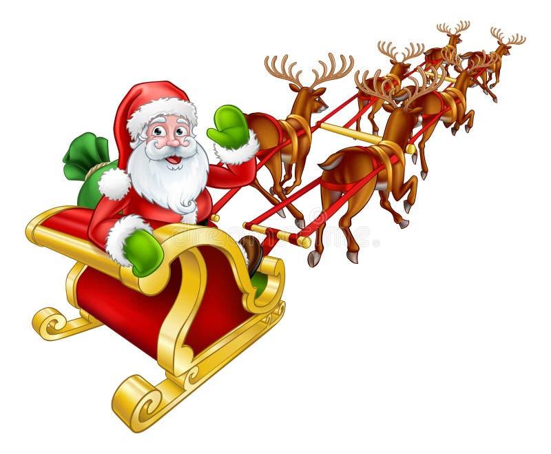 Trineo de Santa Claus Christmas Reindeer y del trineo ilustración del vector