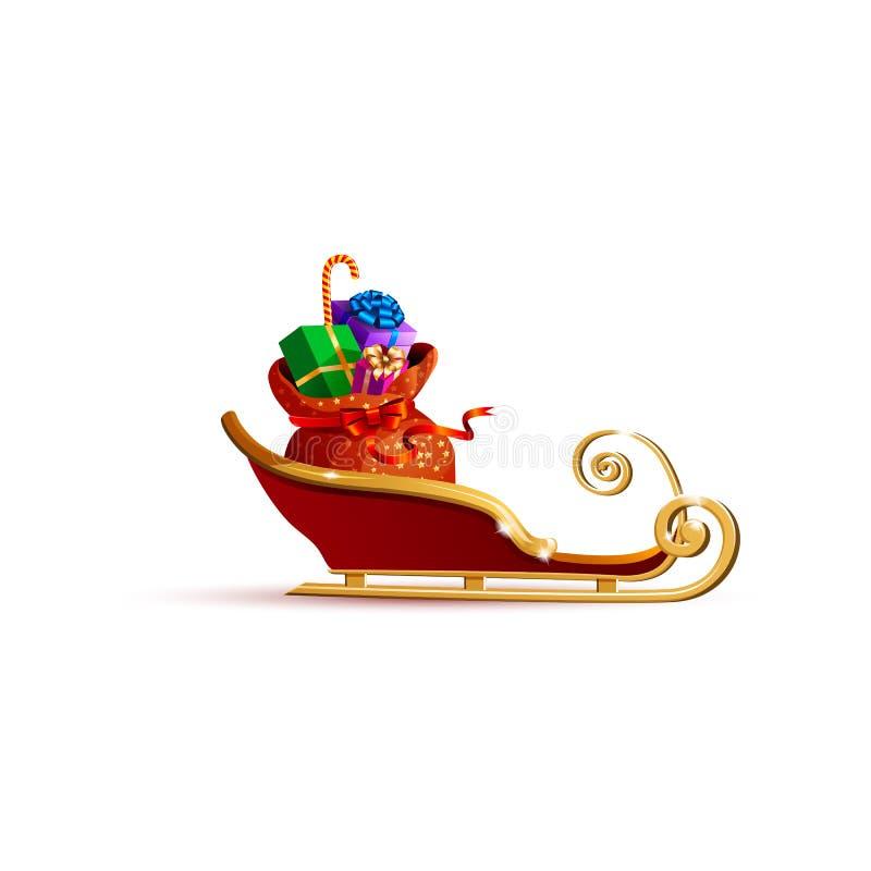 Trineo de Santa Claus con el bolso de regalos stock de ilustración