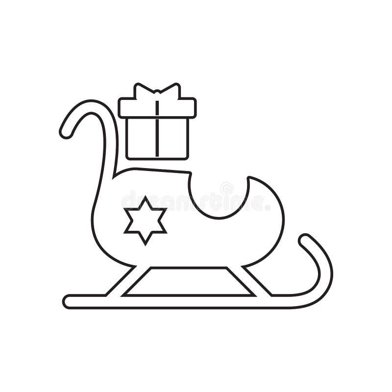 Trineo de Santa Claus con el icono de los regalos Elemento del invierno para el concepto y el icono m?viles de los apps de la web libre illustration