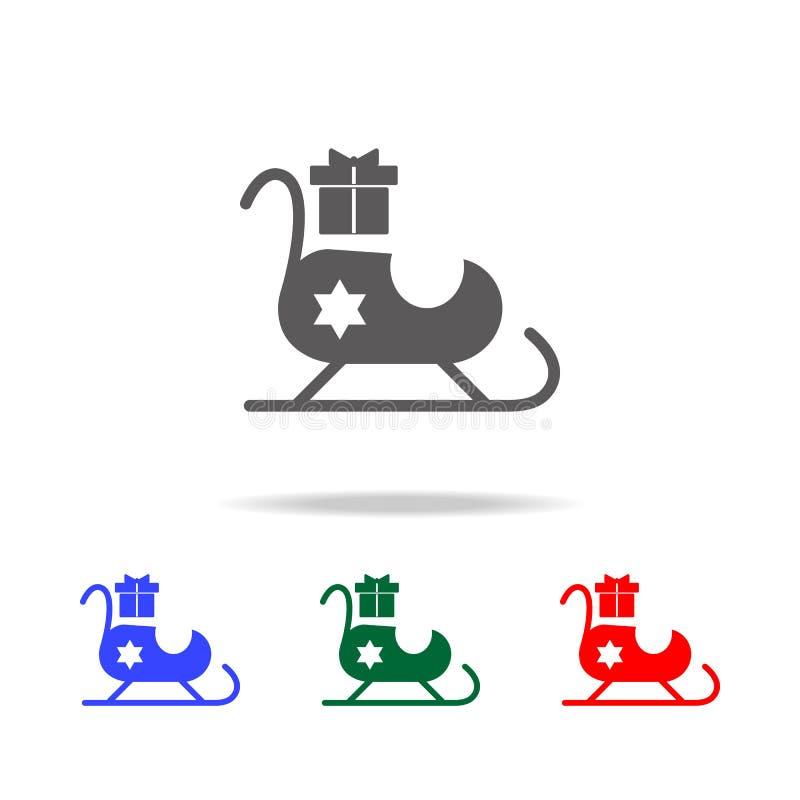Trineo de Santa Claus con el icono de los regalos Elementos de los días de fiesta de la Navidad en iconos coloreados multi Icono  libre illustration