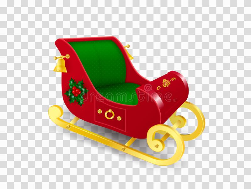 Trineo de Santa Claus de la Navidad con resbalones del oro adornado con las hojas y bayas del acebo, ornamento y campanas de oro  stock de ilustración