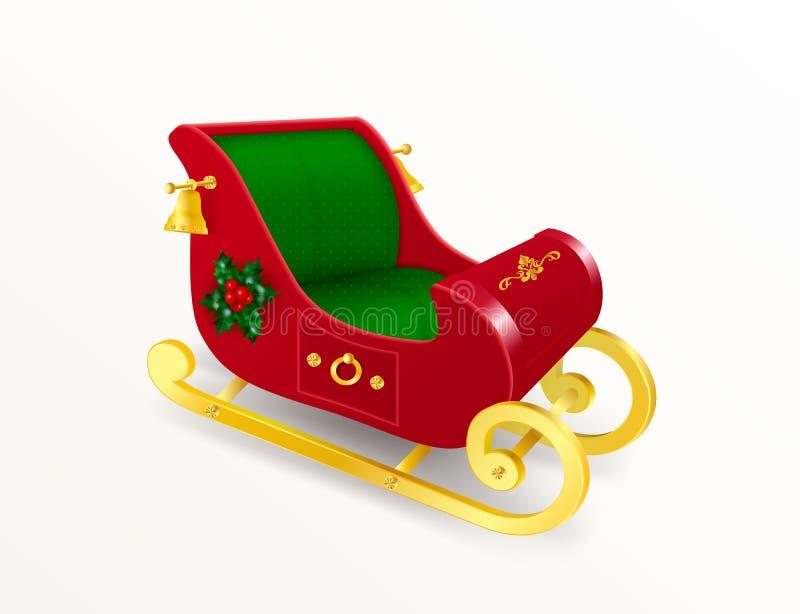 Trineo de Santa Claus de la Navidad con resbalones del oro adornado con las hojas y bayas del acebo, ornamento y campanas de oro  libre illustration