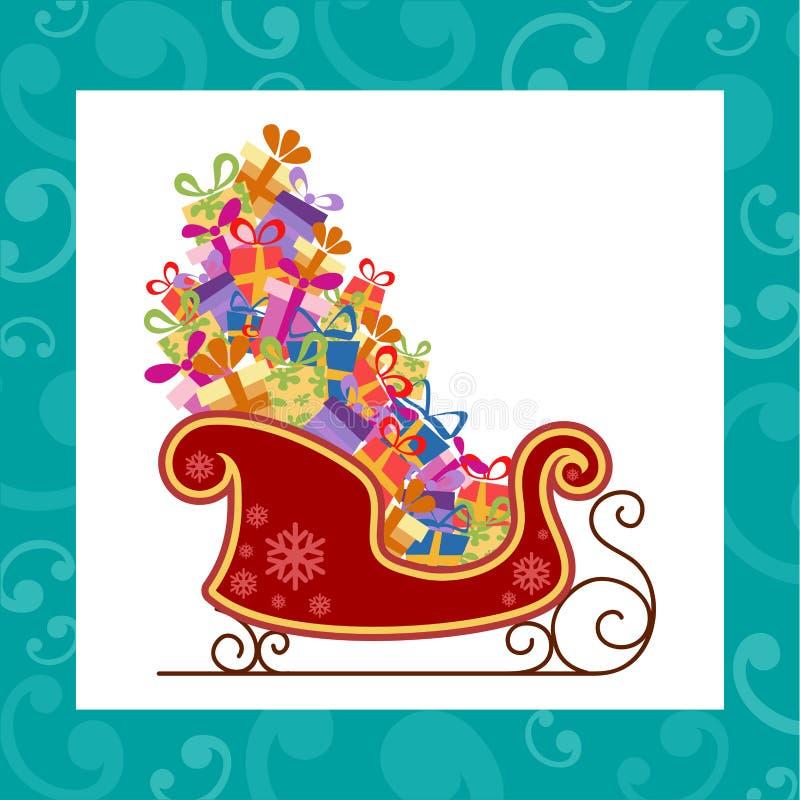 Trineo de Santa con los regalos coloridos ilustración del vector