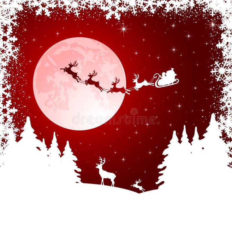 Trineo de Santa en fondo de la luna stock de ilustración