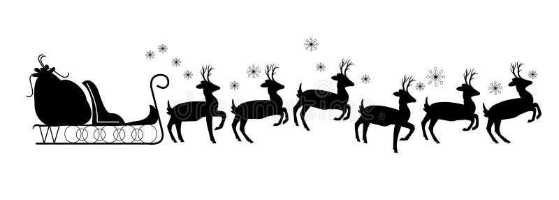 Trineo de Santas con el reno stock de ilustración