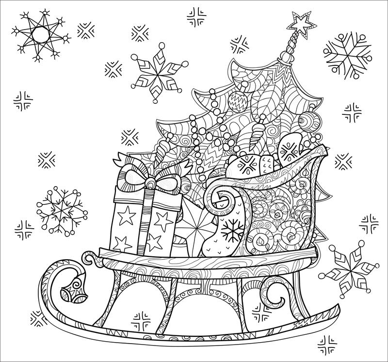 Trineo del bosquejo del garabato de la Navidad stock de ilustración