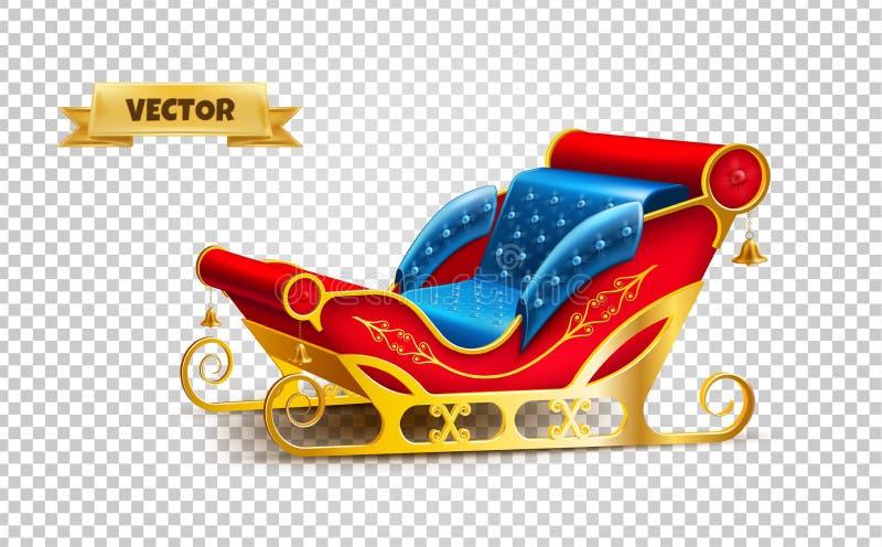 Trineo del día de fiesta de Navidad de la Navidad de Santa Claus del vector ilustración del vector