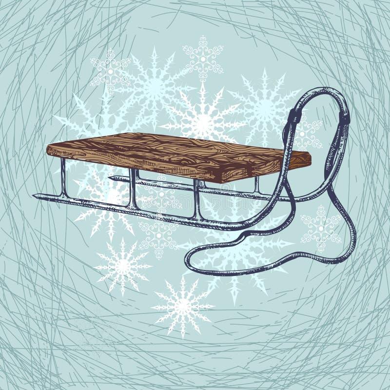 Trineo del invierno stock de ilustración