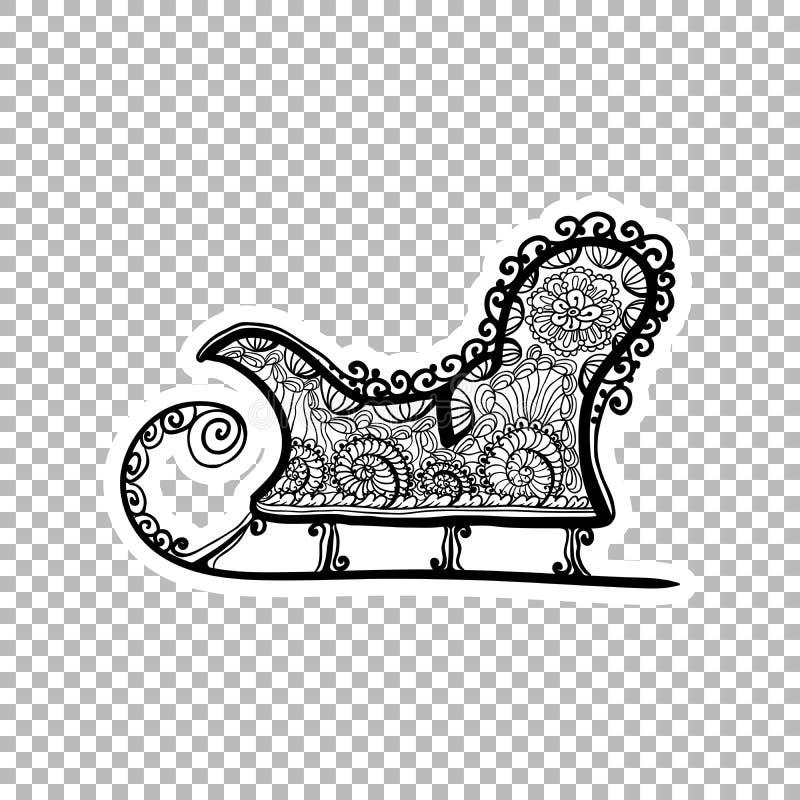 Trineo del invierno, ejemplo adornado de la etiqueta engomada del trineo libre illustration