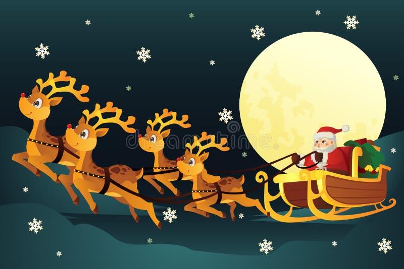 Trineo del montar a caballo de Santa con los renos ilustración del vector