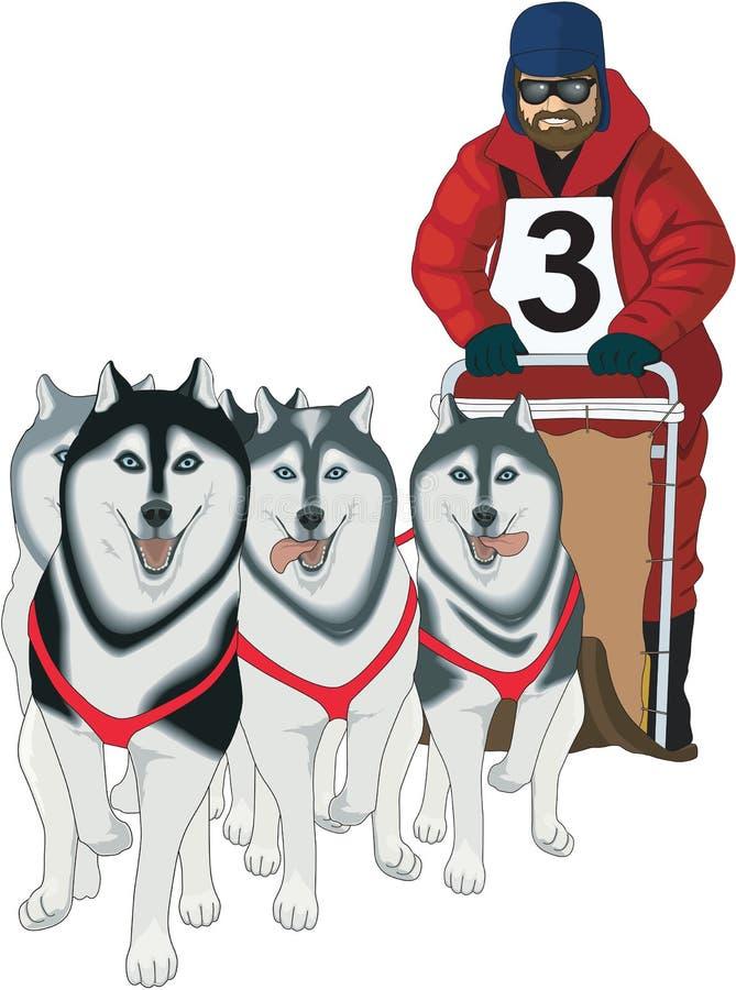 Trineo del perro que compite con el ejemplo del vector stock de ilustración