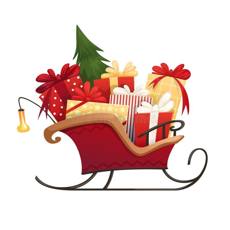 Trineo del ` s de Papá Noel con las cajas de regalos de la Navidad con los arcos y el árbol de navidad libre illustration