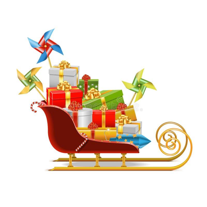 Trineo del vector con los regalos libre illustration