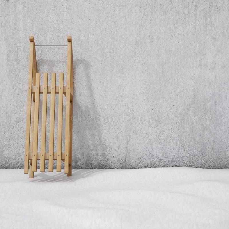 Trineo en la pared con la nieve, fondo del invierno stock de ilustración