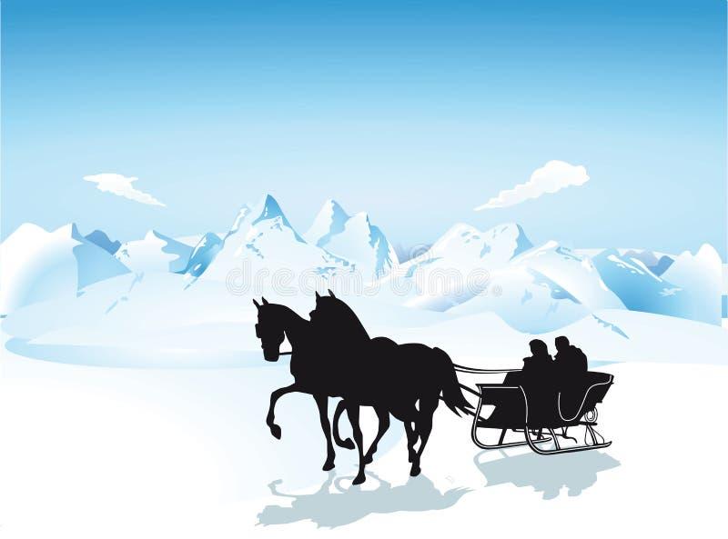 Trineo en las montañas ilustración del vector