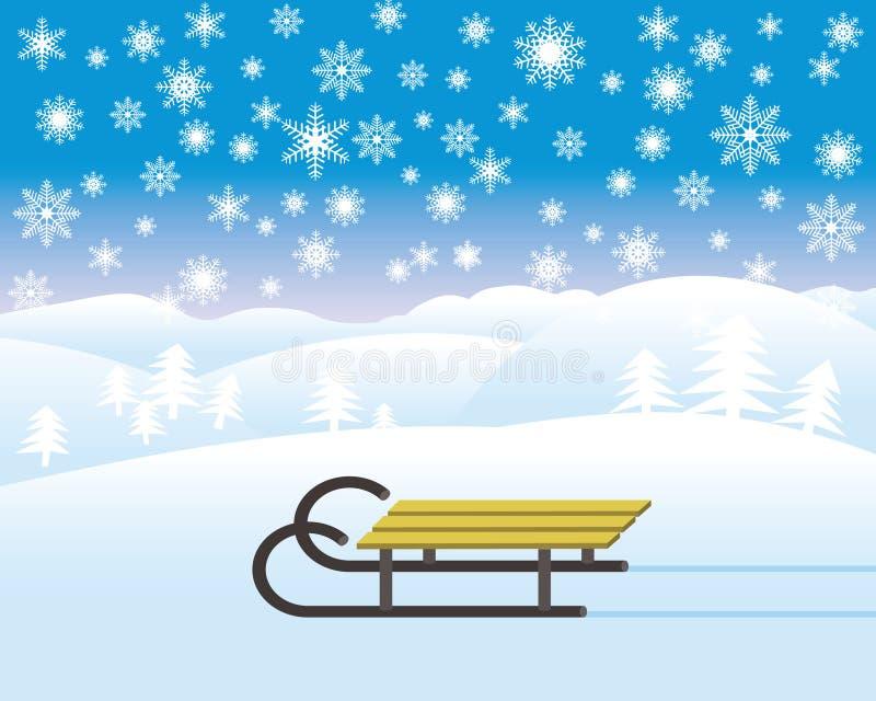 Trineo en paisaje del invierno libre illustration