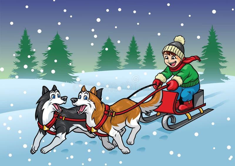 Trineo feliz del montar a caballo del muchacho con su perro de los perros esquimales libre illustration