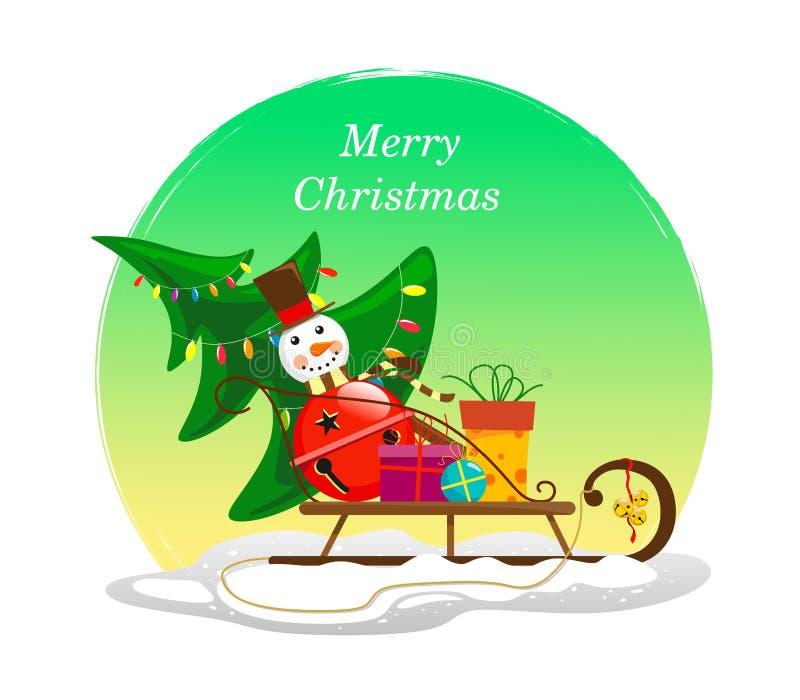 Trineo festivo con un árbol de navidad, un muñeco de nieve de una campana y los regalos en la nieve con un fondo redondo del colo libre illustration