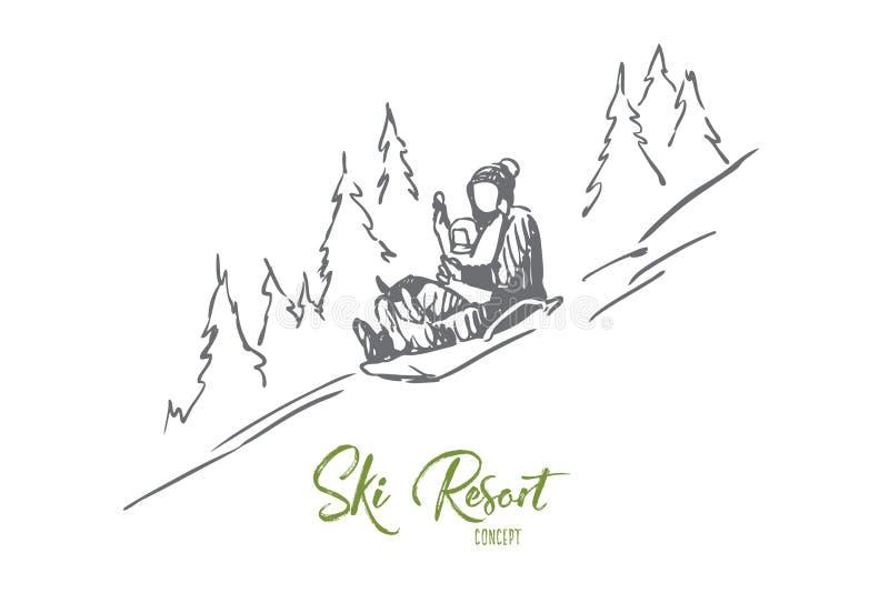 Trineo, invierno, montañas, actividad, concepto del deporte Vector aislado dibujado mano stock de ilustración