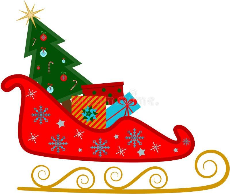 Trineo para santa con el árbol de navidad y los regalos stock de ilustración