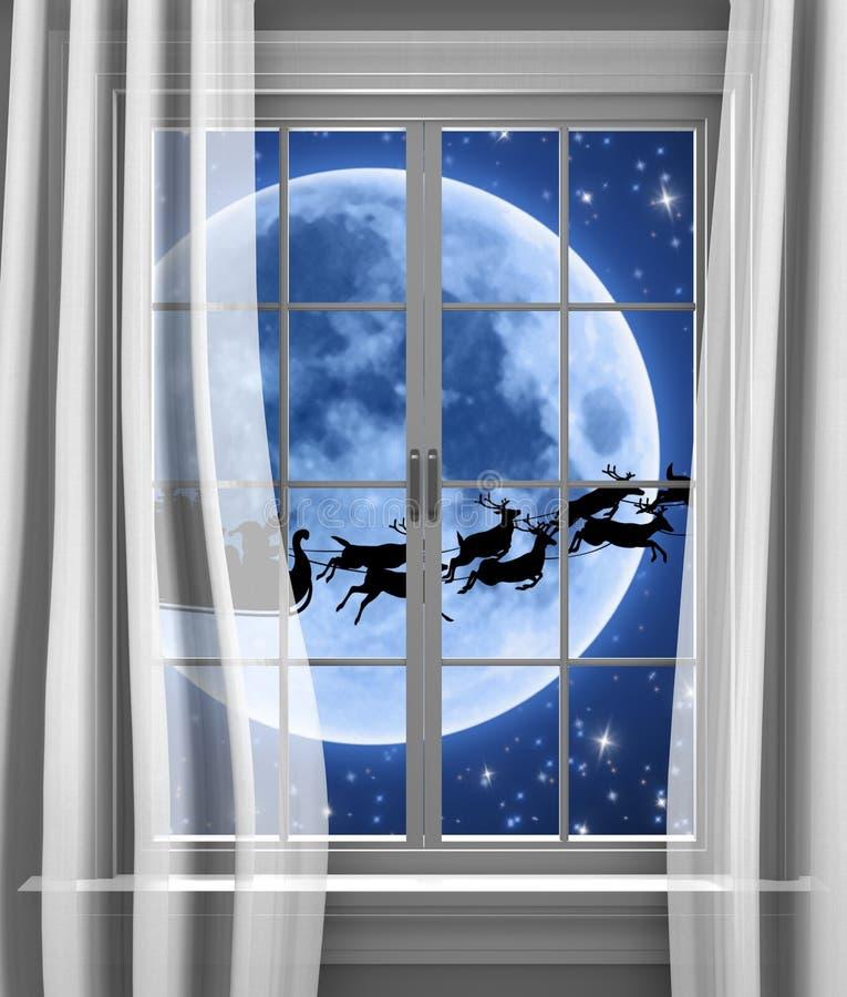 Trineo y reno de Papá Noel que compiten con más allá de la luna para entregar los regalos el Nochebuena ilustración del vector