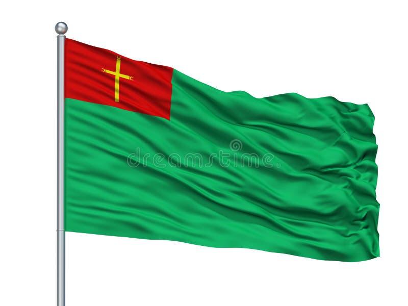 Trinidad City Flag On Flagpole, Bolivia, aislada en el fondo blanco ilustración del vector