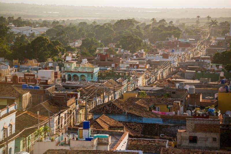 Trinidad, Cuba bij zonsondergang stock afbeeldingen