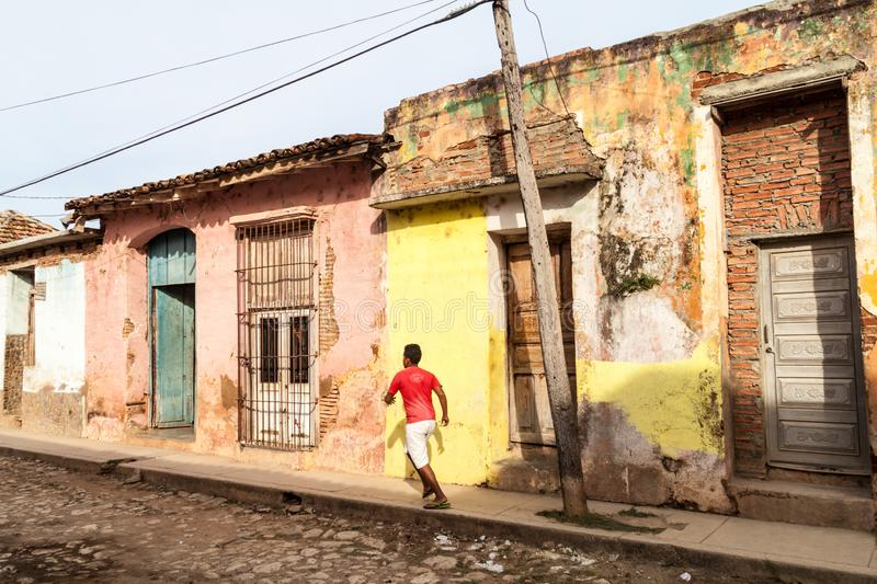 TRINIDAD, CUBA - FEB 8, 2016: View of dilapidated houses in the center of Trinidad, Cub stock photos
