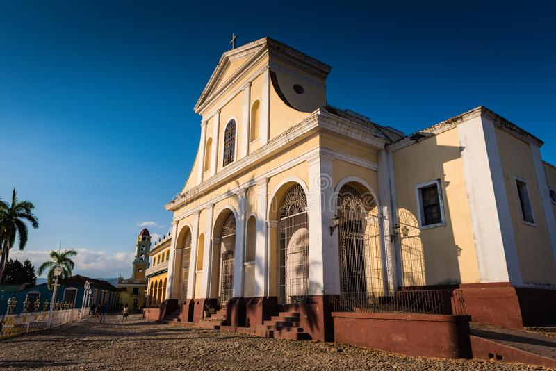 Church of the Holy Trinity. Trinidad, Cuba / March 15, 2016: Church of the Holy Trinity in the Plaza Mayor, the historic centre of the town, declared a UNESCO stock photography
