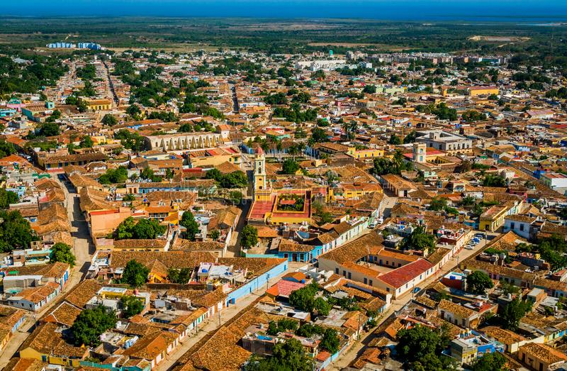 Aerial view of the city of Trinidad, Cuba stock photo