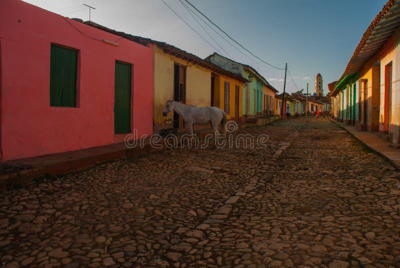 Trinidad, Cuba Rua cubana tradicional com estrada das pedras e as casas multi-coloridas foto de stock